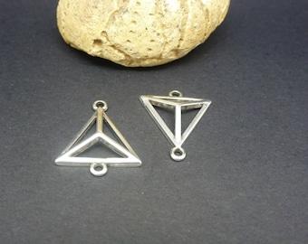 2 connectors triangle 3D geometric 20 * 17mm silver plated Zamak (PPCA04)