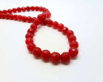 12 pearls tinted jade 6mm red faceted (USPJ08-6)
