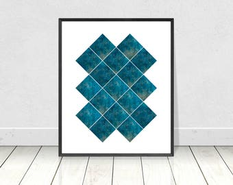 Geometric Pattern, Blue Marble Print, Marble Wall Art, Printable Art, Geometric Print, Abstract Wall Art,Scandinavian Wall Art,Modern Poster