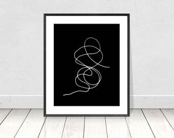 Abstract Art Print, Line Drawing, Black & White Print, Minimalist Wall Art, Printable Art, Modern Art Print,Modern Poster,Scandinavian Print
