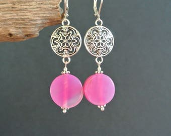 Puck beads round 15 mm within a shield antique silver tone metal connector pink agate earrings