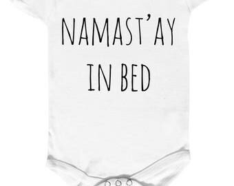 "onesie 100% cotton ""namast'ay ' ay in bed"""