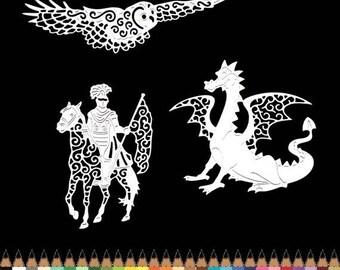 Dragon Knight OWL prince scrapbooking embellishment decoration die cut scrap album cuts