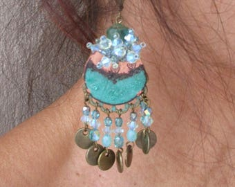"""Earrings """"Esmeralda"""" with light turquoise and Emerald enamel charms"""