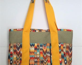 Tote Bag with Pockets Multicolor Southwest Tribal for Shopping, Books, School, Market, Diapers, Knitting and Sewing Projects