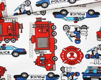Fabric firefighters, police, 100% cotton printed 50 x 160 cm, on a white police car, fire truck