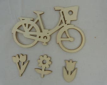 Wooden subjects embellishment: bicycle and flowers