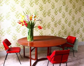 Table dining Scandinavian with folding panel by Hvidt and Molgaard for France and Daverkosen, 1960's