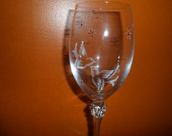 6 customizable flowers and birds motif hand engraved wine glasses