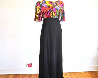 S M 60s MOD Pop Art Print Velour Yellow Red Pink Floral Maxi Black Skirt Buttons MCM Small Medium