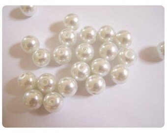 40 8mm - White Pearl glass beads