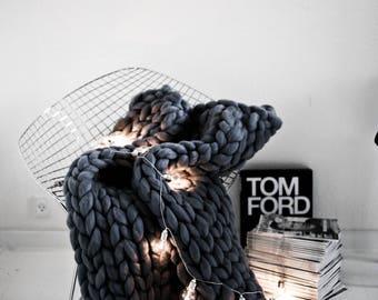 SUMMER SALE: Dark Grey Merino Wool Blanket