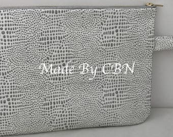 Large white pouch, leather & silver glitter water drops, with strap and zipper elegant gold and grey.