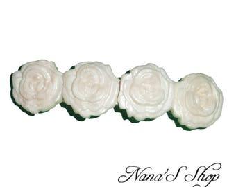 Hair clip, white roses