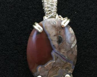 New Mexico Thunder Egg (27x21mm cabochon) Silver-plated Wire Wrapped Pendant
