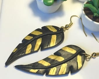 Black polymer clay feather earrings