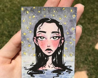 Original ACEO Card - Watercolor & Ink Miniature Painting