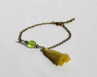 Bracelet Chaine bronze et Pompon Vert anis