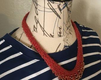 red knit necklace, knit necklace, knitted necklace, beaded necklace, bead bib necklace, boho jewelry, knit jewelry, statement necklace