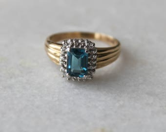 Blue Topaz and Diamond Vintage Halo Ring   10k White and Yellow Gold   Size 8