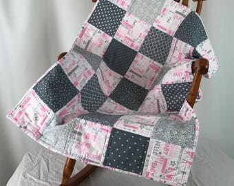 Modern Baby Girl Quilt -- Perfect Crib Quilt, Baby Bedding, Stroller Quilt, Pram Quilt, Playtime Quilt, and Baby Girl Quilt