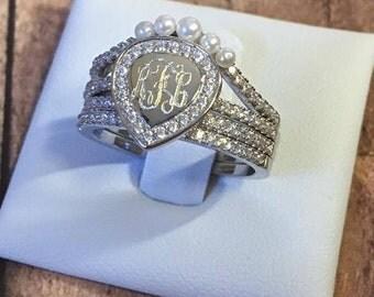 monogram ring, monogram stackable ring, gold monogram ring, silver monogram ring, monogram jewelry, monogram stackable ring