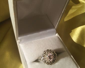 Ring womens pink amethyst and cubic zirconia sterling silver vintage