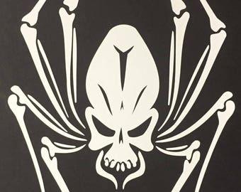 Spider Skull Vinyl Cut Sticker