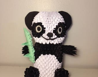 3D Origami Panda Bear with Bamboo Shoot