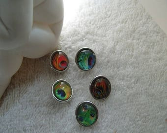set of five mini buttons red and green peacock feathers 1.2 cm