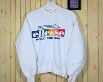 Vintage Ellesse Sweatshirt Spell Out Front Shirt White Colour Size M Nike Adidas Shirt