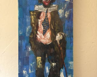 1970's Clown Painting oil on canvas