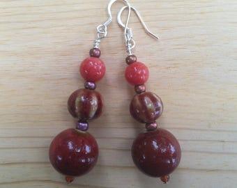 Earthy red beaded dangle earrings