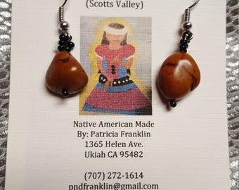 Magnesite earrings w/ black glass beads