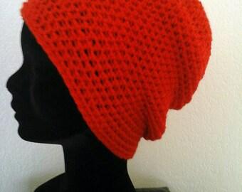 Red wool, wool Beanie crochet