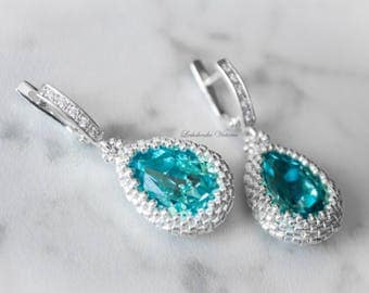 Drop silver turquoise earrings Drop turquoise wedding aquamarine earrings Silver turquoise wedding jewelry Silver turquoise bridal jewelry