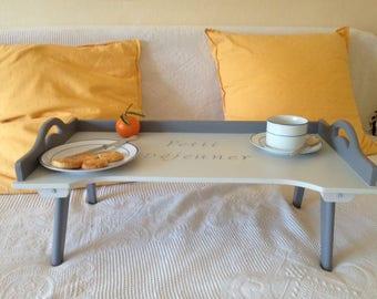 """Wooden """"breakfast"""" folding bed tray"""