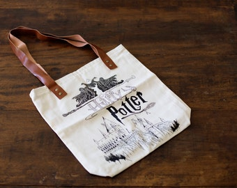Harry Potter, Tote Bag, Leather, Raw Cotton, Handmade