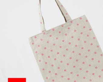 Floral Tote//Cotton Linen Tote bag//Daily Tote Bag//Eco Bag//Market Bag// Shopping Bag//Library Bag//Gift bag//Grocery bag//Tote//#4