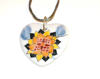 Hand painted heart shaped porcelain pendant