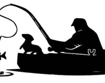 Man & Dog Fishing - Car Decal