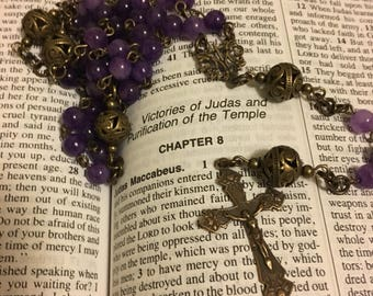 Catholic Rosary Beads - Purple Jade 5 Decade Rosary with Bronze French Filigree Center and Crucifix - Vintage Reproduction