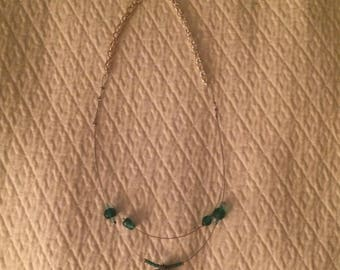 Simple and Elegant Beaded Teal Multistrand Necklace - Handmade Delicate Necklace