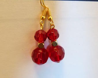 Handmade Red Swarovski Crystal Gold Earrings, Gold Dangle Earrings, Swarovski Crystal Earrings, Handmade Earrings, Red Earrings