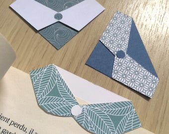 Set of 3 brand-page shirt collar - Bookmark - brand-page origami - Scandinavian style - back to school bookmark - literature - book