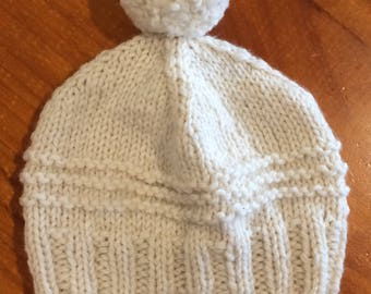 Hand knitted wool beanie