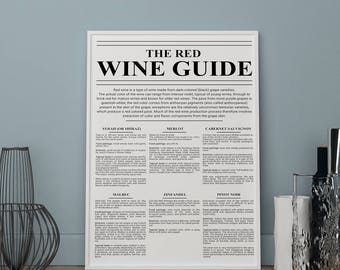 The red wine guide print, Kitchen prints, Wall art, Art Print, kitchen posters, kitchen wall decor