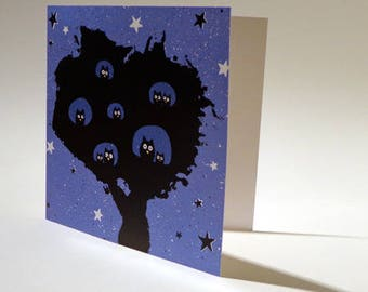 Postcard, poetry, night, owls, tree, stars