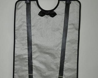 Adult bib waterproof grey silver man, bow tie and black straps