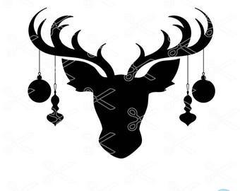 Reindeer Face SVG, PNG, DXF, Eps Cutting Files - Reindeer Svg - Christmas Svg - Rudolph Svg - Christmas Shirt Svg -  Reindeer Clipart cricut